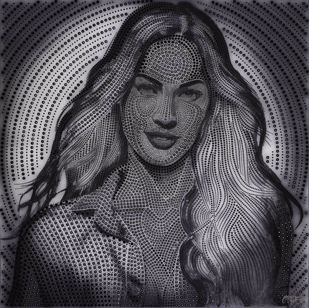 Female-12-Megan-Fox-BW-acrylic-pigment-on-canvas-100x100cm1-min