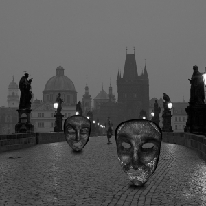 OPHEAR 2 masks 100x100cm scene 1 LR – Night in Prague