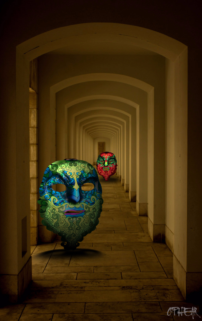 OPHEAR 2 masks 100×63 cm scene 1 Power Corridor LR
