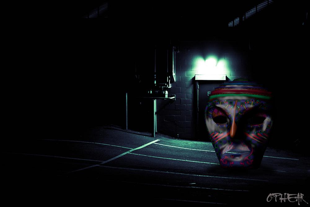 OPHEAR 5 masks 100x67cm scene 6 Thugs LR