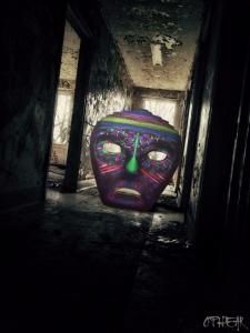 OPHEAR 5 masks 100x75cm scene 7 Homeless LR