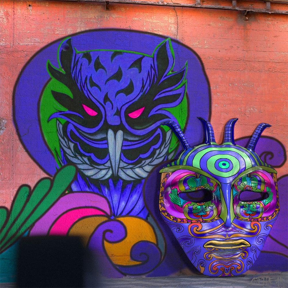 OPHEAR 6 3D masks 100x100cm LR – Evil Wall