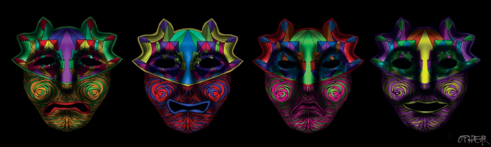 OPHEAR 8 masks 100cmx30cm LR The Clowns