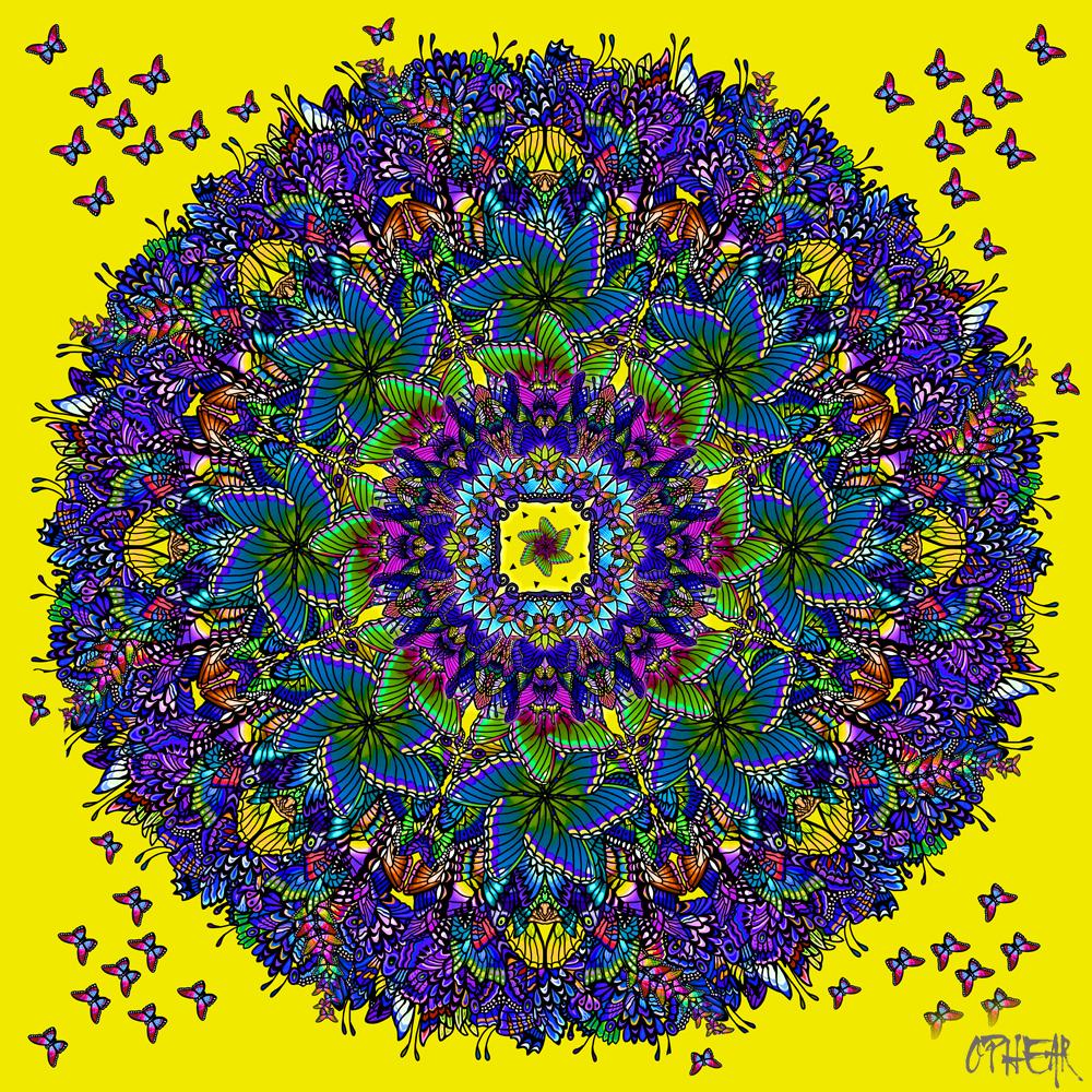 OPHEAR Butterfly Mandala yellow 100x100cm LR