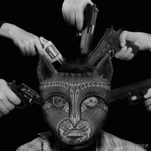 OPHEAR Cat 3D masks 100x100cm scene 4 Guilty LR