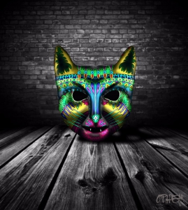 OPHEAR Cat 3D masks 100x75cm scene 6 Angry LR