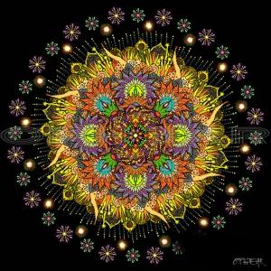 OPHEAR Celebration Mandala yellow 100x100cm LR WM
