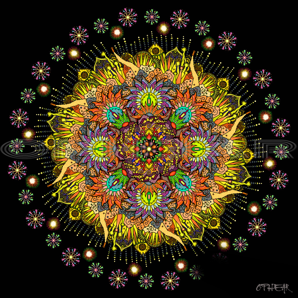 OPHEAR Celebration Mandala yellow 100x100cm LR WM