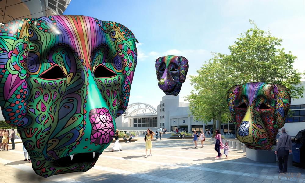 OPHEAR Dog 3D mask 100x60cm scene 1 LR – Dog City II