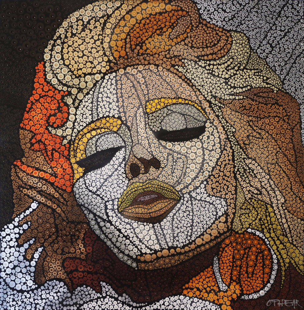 OPHEAR-Madonna-acrylic-pigment-on-canvas-100x100cm-pearl-gold-min
