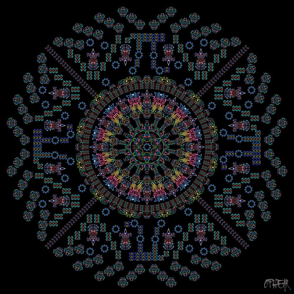 OPHEAR Math Mandala Blue Yellow 100x100cm LR