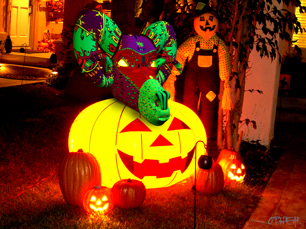 OPHEAR Ram 3D masks 100x75cm scene 3 LR -Halloween with a Twist
