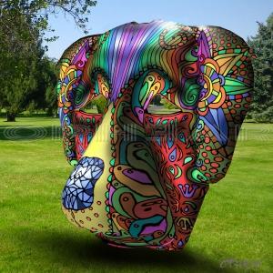 OPHEAR dog 3D masks green 50x50cm LR WM
