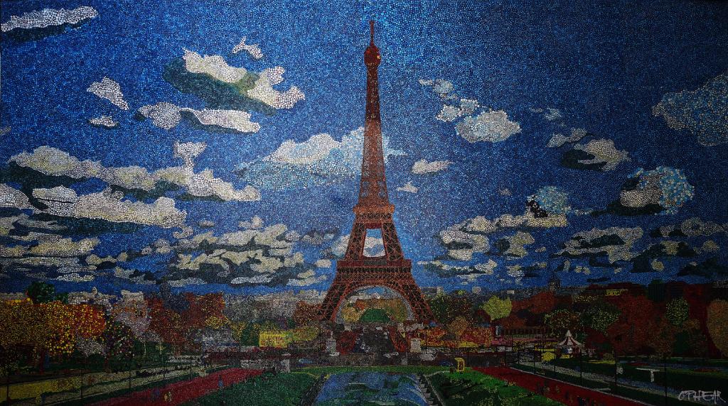 Paris pigment + acrylic on canvas 100x187cm